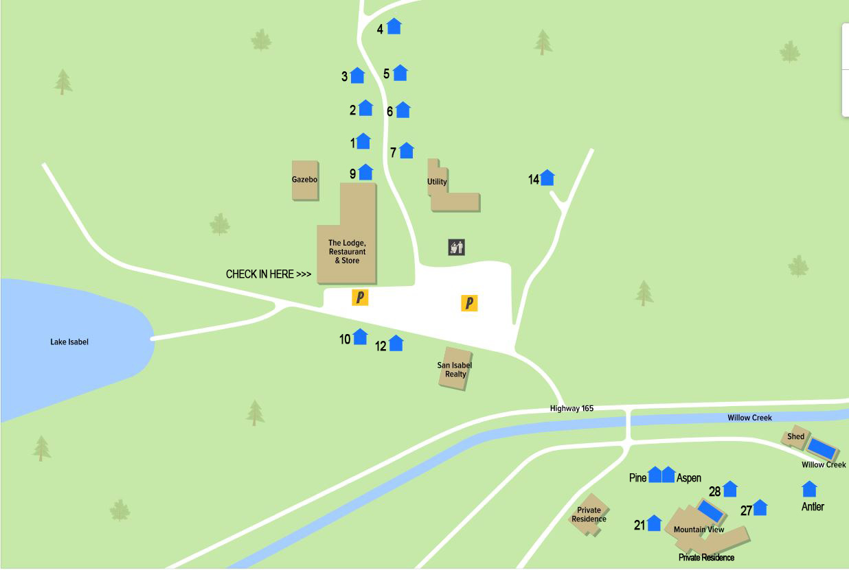 San Isabel Lodging - Map of the Pine Lodge and the Lodge at San Isabel